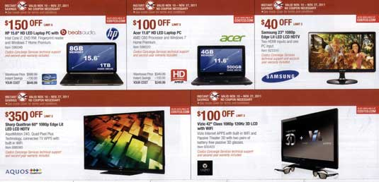 November 2011 Costco coupon book