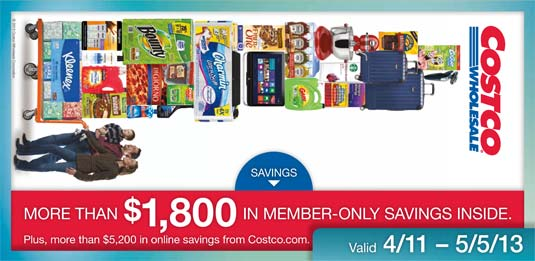 April 2013 Costco Coupon Book Cover