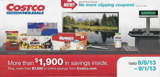 August 2013 Costco Coupon Book Cover