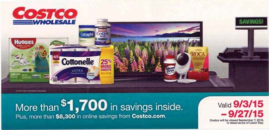 September 2015 Costco Coupon Book Cover
