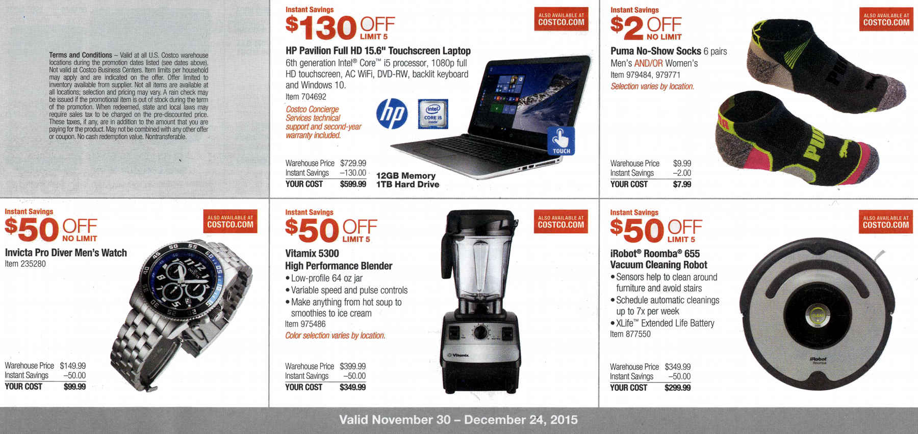 December 2015 Costco Coupon Book Page 1