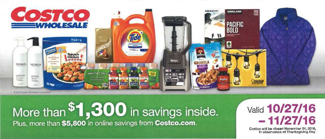November 2016 Costco Coupon Book Cover