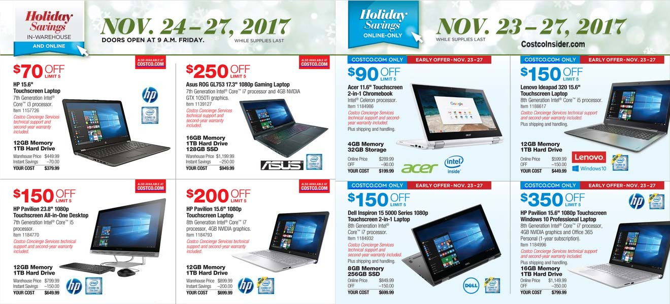 Costco Black Friday 2017 Ad Scan Page 1
