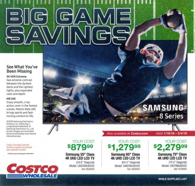 Costco Super Bowl TV Deals 2018 Page 1