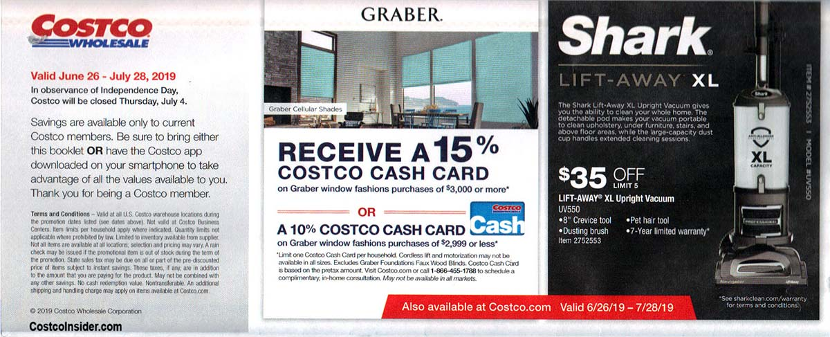 Costco July 2019 Coupon Book Page 1