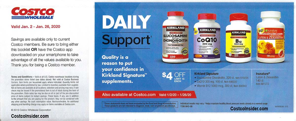 Costco January 2020 Coupon Book Page 1