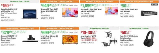 Costco August 2020 Coupon Book Page 1