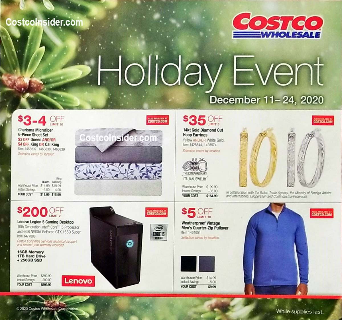 Costco Holiday Handout 2020 Coupons Page 1